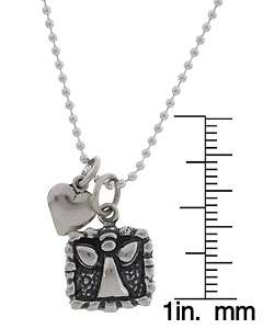 Charming Life Girls Guardian Angel and Heart Charm Necklace
