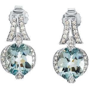 Stunning Aquamarine and Diamond 14K White Gold Earrings