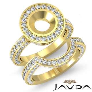 5Ct Diamond Engagement Ring Round Bridal Set 14k Gold