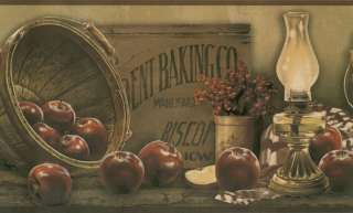 COUNTRY APPLES & BASKETS WALLPAPER BORDER BY YORK