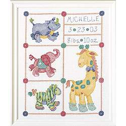 Jungle Babies Birth Record Cross Stitch Kit