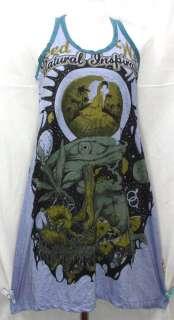 Mushroom Eye Frog Hippie Rock T Shirt Mini Tank Dress TOP Tunic, M L