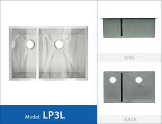 UNDERMOUNT Stainless Steel Designer KITCHEN SINK LP3L