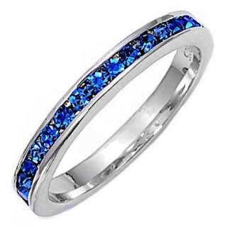 Stackable Blue Sapphire Ice CZ Eternity Band Ring s 5