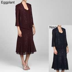 Richards Womens 2 piece Long Sleeve Beaded Dress Set