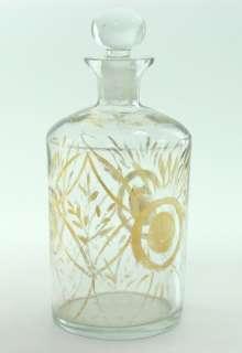 ANTIQUE GLASS BOTTLE ART DECO GOLD PAINT TIN CONTAINER