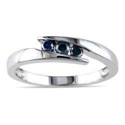 Sterling Silver 1/5ct TDW Blue Diamond Ring