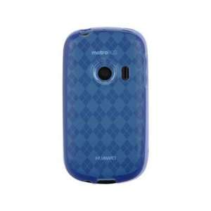 Skin TPU Phone Protective Cover Case Blue Checkered For T Mobile Comet