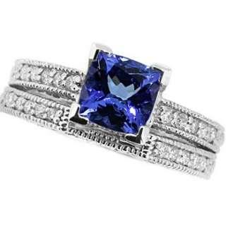 TANZANITE DIAMOND MATCHING ENGAGEMENT WEDDING RING SET 14K WHITE GOLD