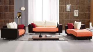 Contemporary Mixed Color Orange Brown White Fabric Sofa Set, Couch
