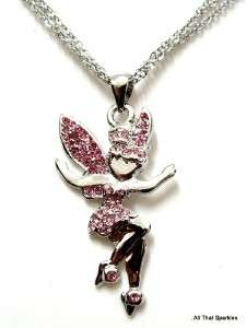 Pink Crystal Tinkerbell Fairy Girls Pendant Necklace