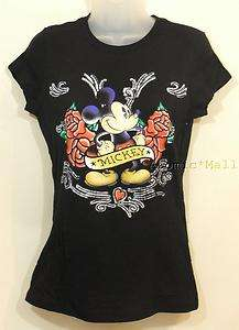 Womens Disney Mickey Mouse Tattoo Art Roses Banner S