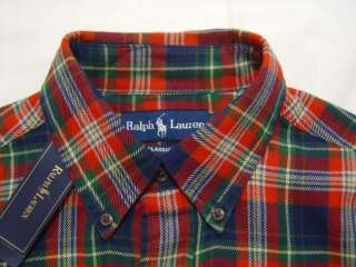 4XLT Polo Ralph Lauren PONY Flannel Shirt Red Tartan Madras Button 4XL