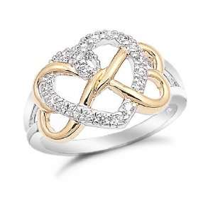 Gold Plated Heart Link Sterling Silver Ring, 8 Jewelry