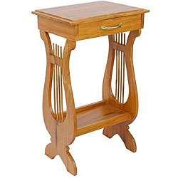 carved Victorian Harp Teak Wood End Table (Thailand)