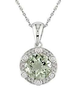 14k Gold 1/10ctw Diamond Green Amethyst Pendant