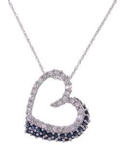 14k White Gold Diamond & Sapphire Open Heart Pendant  Overstock