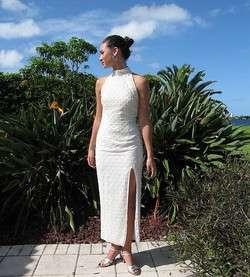 PEARL BEADED SILK CHIFFON GOWN DRESS~BRIDAL WEDDING~S