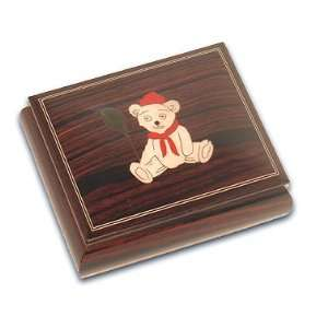 Little Teddy Bear with Red Balloon Adorable Dark Wooden