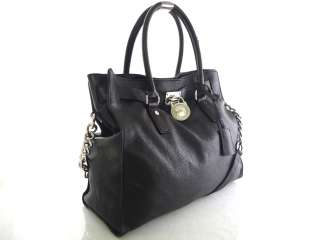MICHAEL KORS Hamilton BLACK Large Leather Satchel Tote Handbag MSRP $
