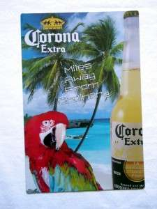 Corona Beer Parrot & Palm Tree Metal Tin Sign NEW