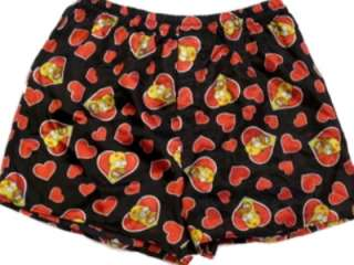 Simpsons Boxer Shorts Silky Black with Red Hearts Homer Simpson Boxers