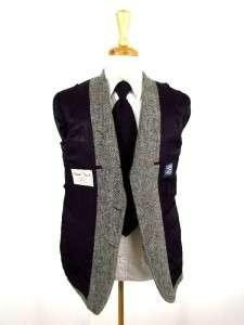 vintage gray herringbone HARRIS TWEED jacket blazer sport coat fleck