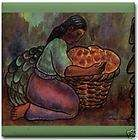 Diego Rivera Ceramic Art Tile Young Woman w Cala Lilies