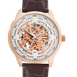 Akribos XXIV Mens Saturnos Rose Gold Skeleton Dial Automatic Strap