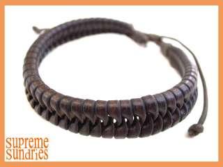 Multiple Style Brown Combo Braided Hemp Surfer Leather Bracelet #3
