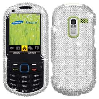 WHITE CRYTAL BLING HARD CASE COVER SAMSUNG PROFILE R580