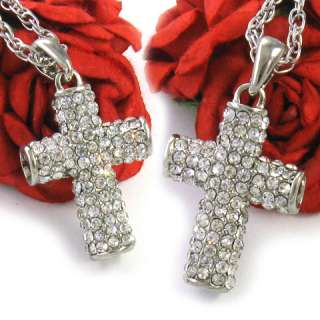 Silver Tone Clear Rhinestone Cross Pendant Necklace 300
