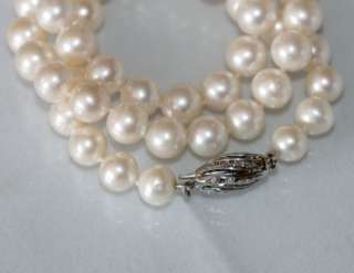 Cultured white round 8 mm pearl necklace with 14k white gold diamond