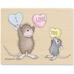 House Mouse With All My Heart Wood mounted Rubber Stamp
