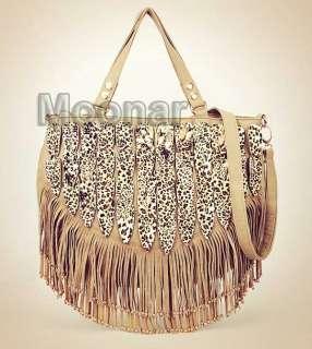 Gypsy Style Tassels Leopard Printed Women Shoulder Purse Handbag Tote