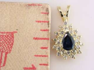 Sapphire Diamond 1.10ct 14K Yellow Gold Necklace Pendant Jewelry
