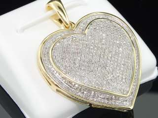 YELLOW GOLD BIG HEART LOVE 1C DIAMOND PENDANT PAVE CHARM FOR NECKLACE