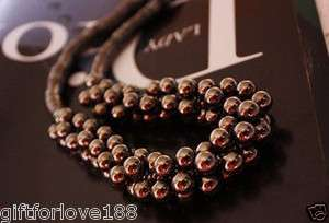 H4889 New Fashion Jewelry multilayer silver black beads chain Necklace