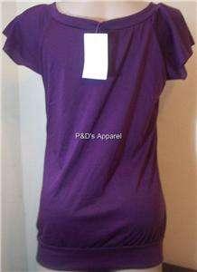 New Cozy Maternity Womens Clothes Purple Shirt Top Blouse M L