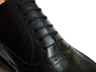 4K NEW KITON Napoli Wing Tip 13 US Black Leather Oxford Shoe