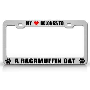 MY HEART BELONGS TO A RAGAMUFFIN Cat Pet Auto License Plate Frame Tag