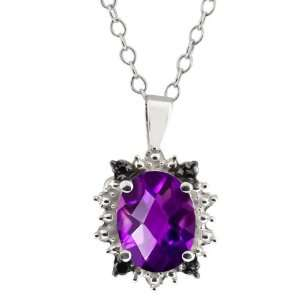 1.62 Ct Checkerboard Purple Amethyst and Diamond Sterling