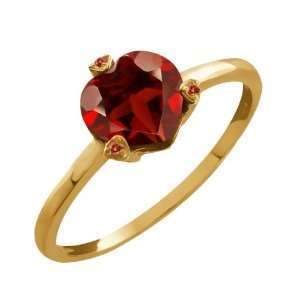1.52 Ct Heart Shape Red Garnet and Cognac Red Diamond 10k