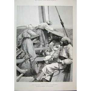 1888 Men Woman Barrel Boat Sea Scene Victorain Fine Art
