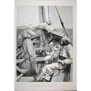 1888 Men Woman Barrel Boat Sea Scene Victorain Fine Art