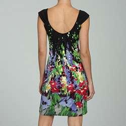 London Times Womens Waterfall Floral Print Dress