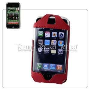 Dark Red Apple iPhone Premium Leather Vertical Holster Case Cover with