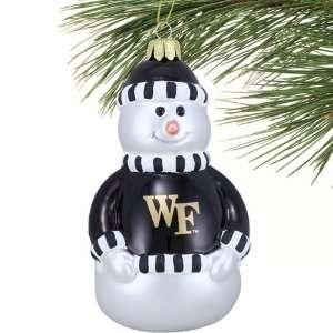 Wake Forest Demon Deacons Blown Glass Snowman Ornament