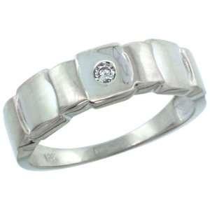 14k White Gold Mens Diamond Ring w/ 0.06 Carat Brilliant