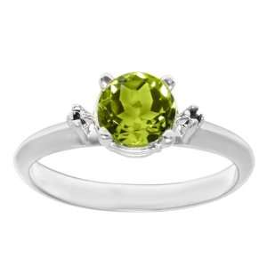 0.76 Ct 6.00 mm Oval Cut Peridot 14K White Gold Ring